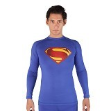 TIENTO Baselayer Manset Rashguard Compression Long Sleeve Blue Superman Size XL (Merchant) - Kaos Pria