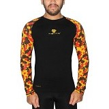 TIENTO Baselayer Manset Rashguard Compression Long Sleeve Size L - Black Army Orange (Merchant) - Kaos Pria
