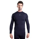 TIENTO Baselayer Manset Rashguard Compression Long Sleeve Size M - Navy Silver (Merchant) - Kaos Pria