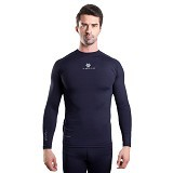 TIENTO Baselayer Manset Rashguard Compression Long Sleeve Size S - Navy White (Merchant) - Kaos Pria