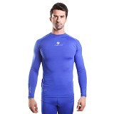 TIENTO Baselayer Manset Rashguard Compression Long Sleeve Size XXL - Blue Silver (Merchant) - Kaos Pria