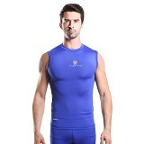 TIENTO Baselayer Manset Rashguard Compression Sleeve Less Size M - Blue Silver (Merchant) - Singlet Pria