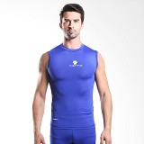 TIENTO Baselayer Manset Rashguard Compression Sleeve Less Size S - Blue White (Merchant) - Singlet Pria