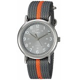 TIMEX Weekender Orange Stripe Nylon Slip Thru Strap Jam Tangan Pria - Gray/Orange [T2N6499J] (Merchant) - Jam Tangan Pria Fashion