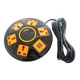 UNIQUE Charger Multi Function Vertical Smart Socket UFO [CH-U-UFO] - Black Orange - Stop Kontak Out Bow