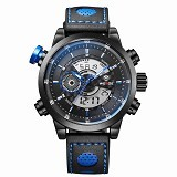 WEIDE Jam Tangan Sport Pria Leather Strap Japan Quartz [WH3401] - Black Blue (Merchant) - Jam Tangan Pria Sport