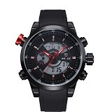 WEIDE Jam Tangan Sport Pria Leather Strap Japan Quartz [WH3401] - Black Red (Merchant)