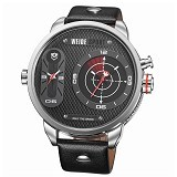 WEIDE Miyota Jam Tangan Fashion Sport Japan Quartz Leather Strap [WH3409] - Silver Black (Merchant) - Jam Tangan Pria Casual