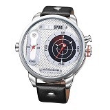 WEIDE Miyota Jam Tangan Fashion Sport Japan Quartz Leather Strap [WH3409] - White Silver (Merchant) - Jam Tangan Pria Casual