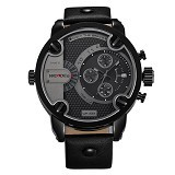WEIDE Miyota Jam Tangan Pria Leather Sports Japan Quartz [WH3301] - Black (Merchant) - Jam Tangan Pria Sport