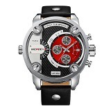 WEIDE Miyota Jam Tangan Pria Leather Sports Japan Quartz [WH3301] - Black Red (Merchant) - Jam Tangan Pria Sport