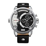 WEIDE Miyota Jam Tangan Pria Leather Sports Japan Quartz [WH3301] - Black Silver (Merchant) - Jam Tangan Pria Sport