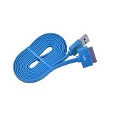 WELLCOMM Kabel Data Flat iPhone 4 1.5M - Blue (Merchant) - Cable / Connector Usb