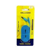 WELLCOMM Kabel Data Flat iPhone 5 1.5M - Blue (Merchant) - Cable / Connector Usb