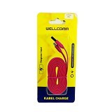 WELLCOMM Kabel Data Flat iPhone 5 1.5M - Red (Merchant) - Cable / Connector Usb