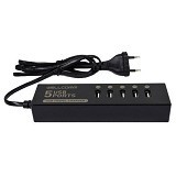 WELLCOMM Travel Charger 7A 5 Ports USB Kabel 1.2M - Black (Merchant) - Charger Handphone