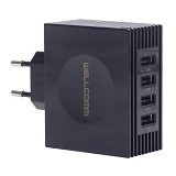 WELLCOMM Travel Charger Adaptor 4 Port Output 4.2A - Black - Universal Charger Kit