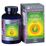 WELLNESS Natural Vitamin E-400 I.U 150 Softgel - Suplement Pencegah Penyakit Jantung / Kolesterol