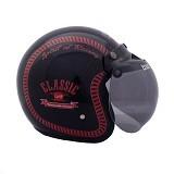 WTO Helmet Retro Classic Racing Size XL - Hitam Merah - Helm Motor Half Face