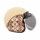 WTO Helmet Retro Classic Size L - Batik Krem - Helm Motor Half Face