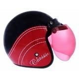WTO Helmet Retro Classic Size L - Hitam Merah - Helm Motor Half Face