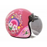 WTO Helmet Retro Classic Size XL - Flower Pink - Helm Motor Half Face