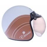 WTO Helmet Retro Classic Size XL - Putih Cokelat - Helm Motor Half Face