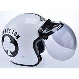 WTO Helmet Retro Do The Ton Size XL - Putih Hitam - Helm Motor Half Face