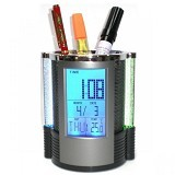 SAN TECH Color Change Desk Clock Temperatur Display with Pen Holder [JK-1898] (Merchant) - Jam Meja