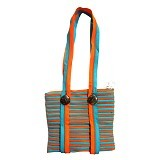 ZIP N ROLL Tote Bag [TB001] - Green Orange - Tote Bag Wanita
